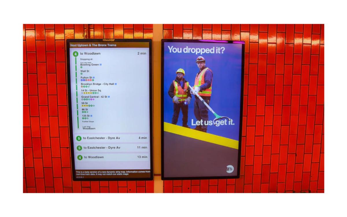 Mehr als 9.000 Displays wie im Bild sollen innerhalb der nächsten 12-14 Monate in New Yorks U-Bahn installiert werden (Foto: New York MTA)