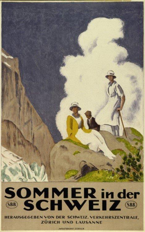 """Historische Plakate der Ausstellung """"Sommer und Sport in der Schweiz"""" im eMuseum der APG SGA (Foto: APG SGA)"""