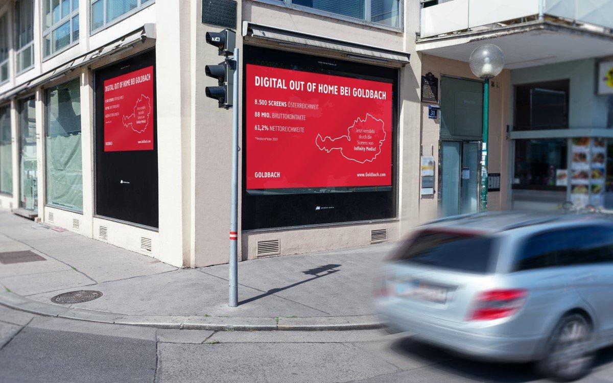 Die Schaufenster-LED-Screens von Infinity Media in Österreich können künftig auch bei Goldbach gebucht werden (Foto: Goldbach)