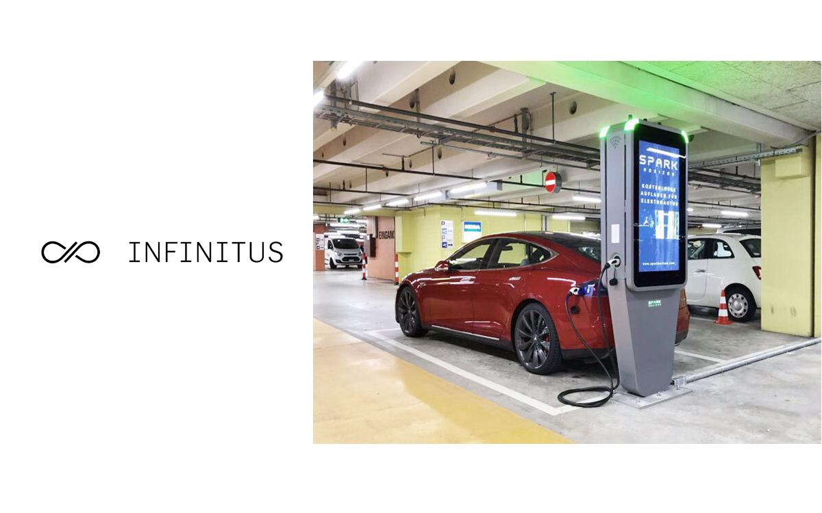 Die imotion Charge-Stele von Infinitus verein smarte E-Ladestation mit City-Stele und DooH-Werbefläche (Foto: Infinitus)