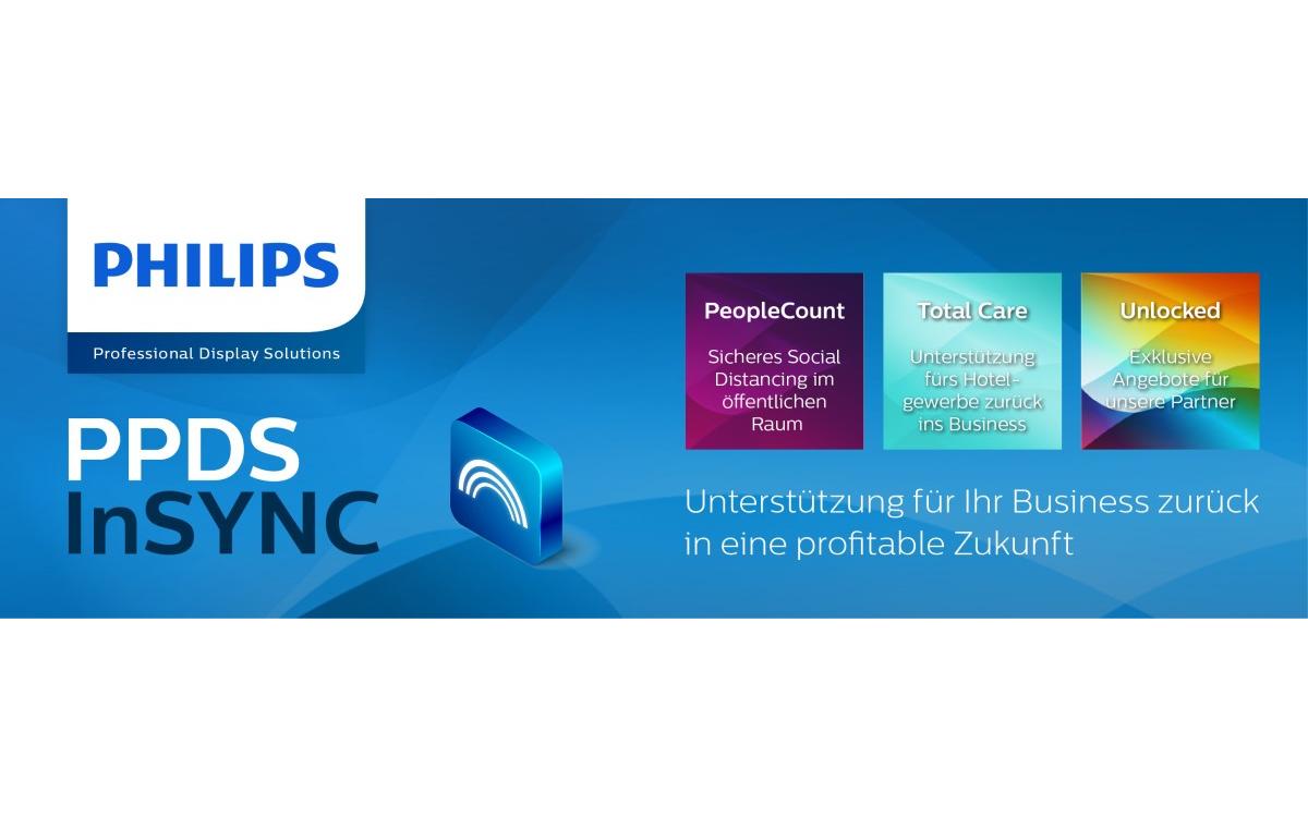 Philips Professional Display Solutions bietet mit 'InSync' eine Reihe Aktionen an, die Unternehmen beim Wiedereinstieg nach den Lockdowns helfen sollen (Foto: Philips PDS)