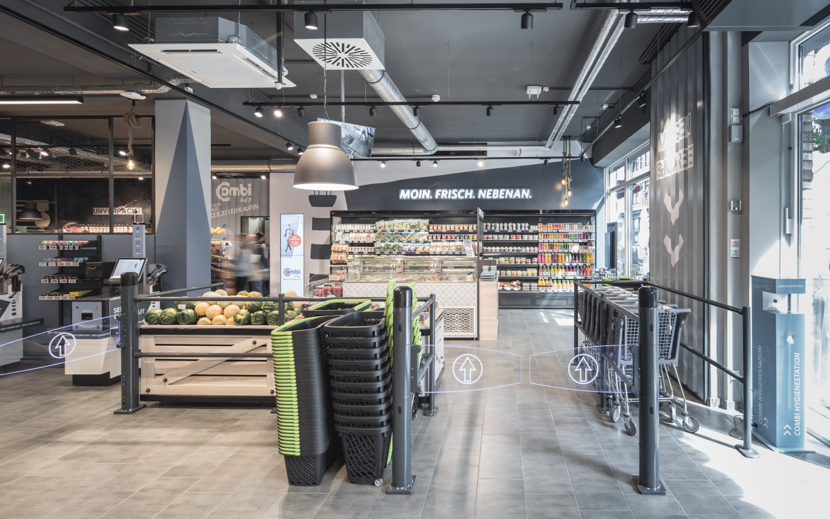 Der neue Combi City Markt in Oldenburg in modernem Design mit Tech von Wanzl (Foto: Wanzl)