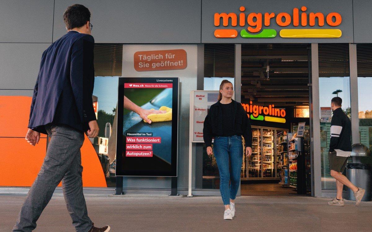 Livesystems lanciert zusammen mit Migrolino ein DooH-Vermarktungsnetz an 382 Convenience-Standorten in der Schweiz (Foto: Livesystems)