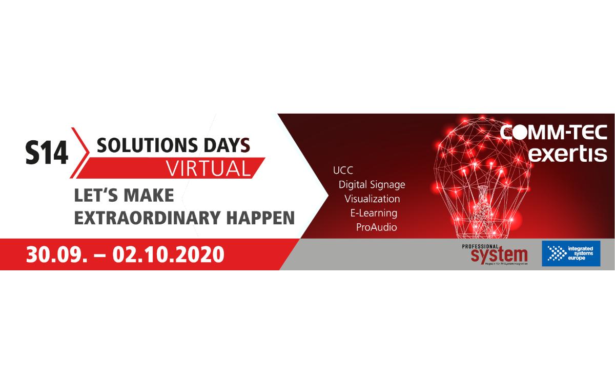 "Unter dem Motto ""Let`s make extraordinary happen"" lädt COMM-TEC Exertis vom 30.09. bis 02.10.2020 zu den Virtual S14 Solutions Days (Foto: COMM-TEC)"