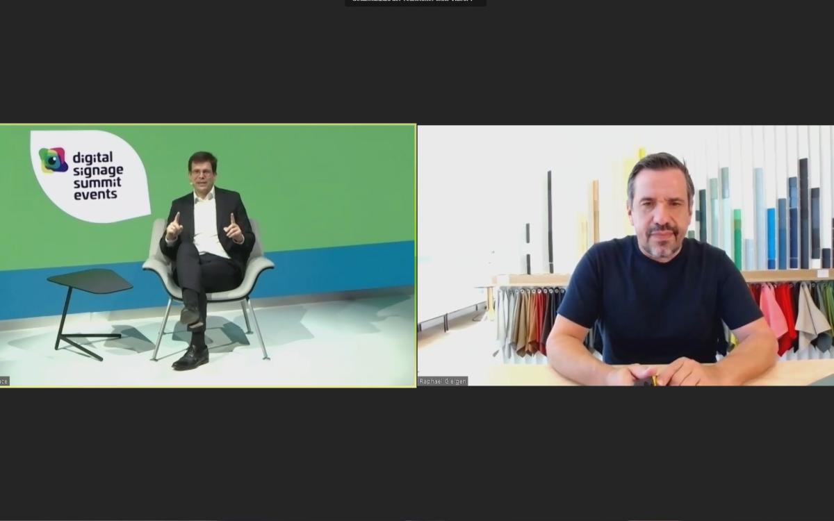 Stefan Schieker von invidis consulting und Raphael Geigen (r.) von Vitra beim DSS 2020 Hybrid-Event Ende Juli (Foto: Screenshot)