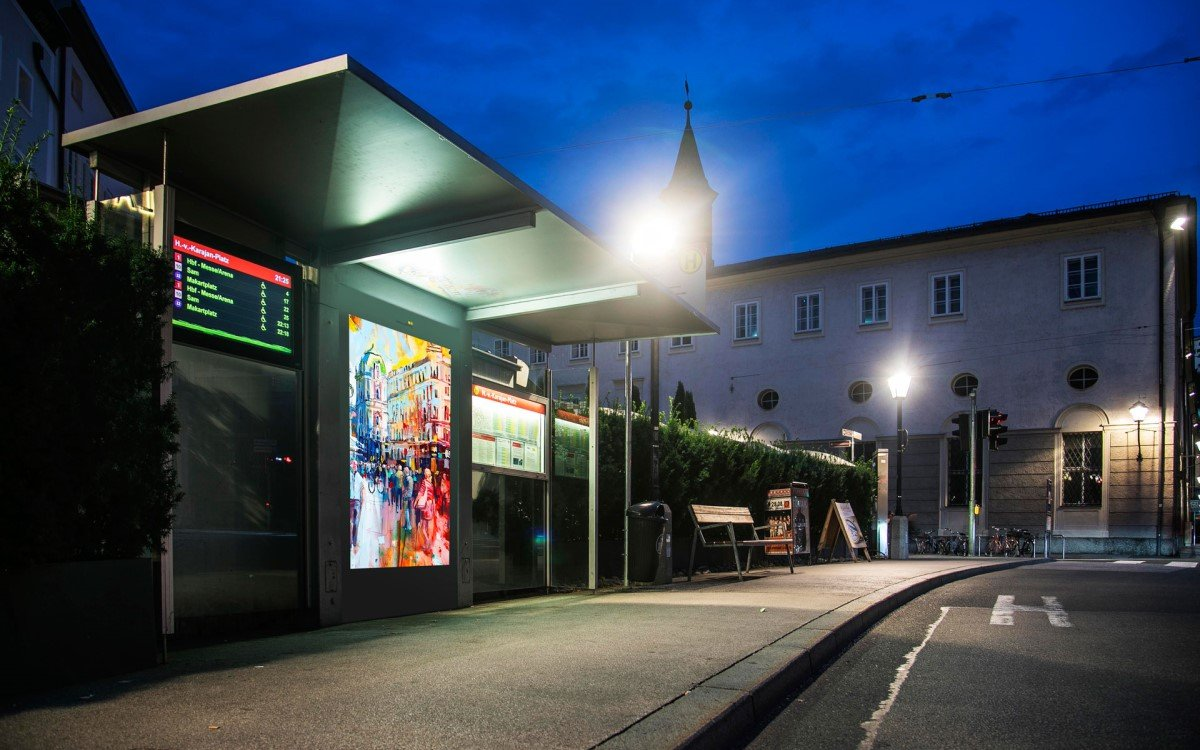Epamedia Digital Signage-Stelen in Salzburg (Foto: Epamedia)