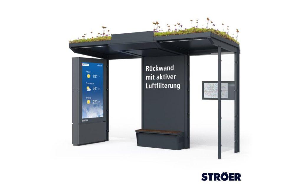 Die begrünte Wartehalle mit Luftfilter-System und Green Signage von Ströer und Mann+Hummel (Foto: Ströer)