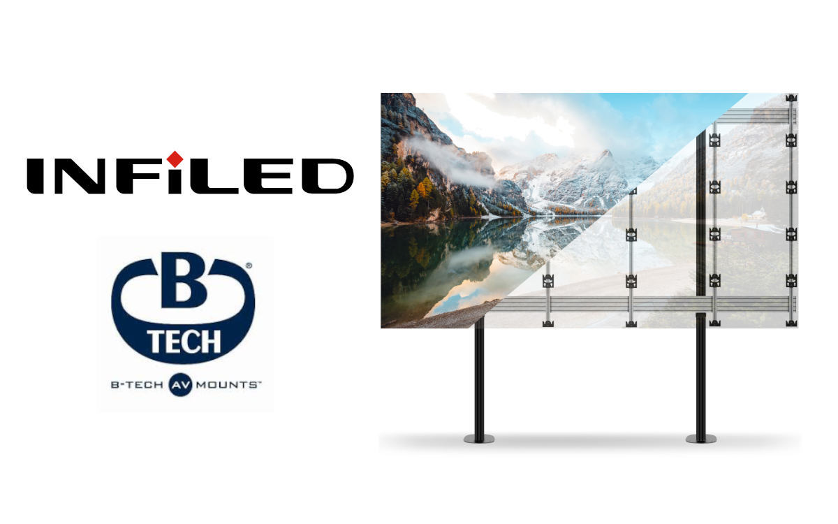 Displayhersteller INFiLED EMEA und der Experte für AV-Halterungen B-Tech kooperieren künftig (Foto: INFiLED/B-Tech AV Mounts)