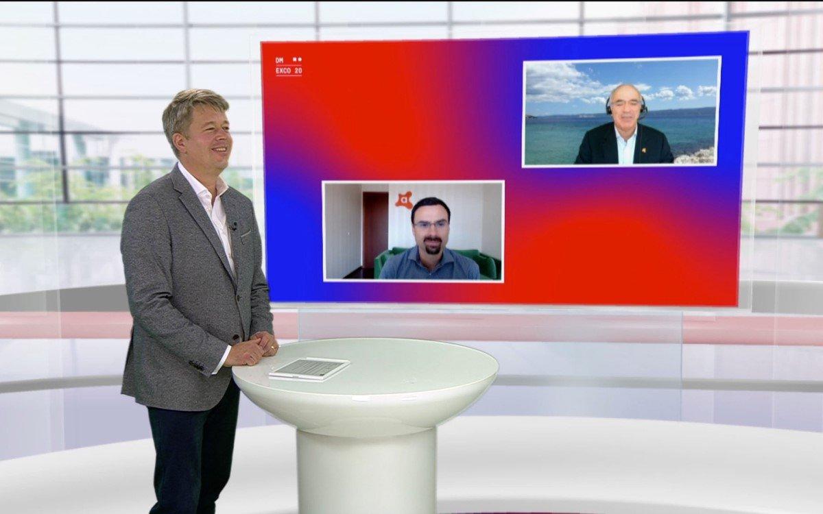 """Schwachweltmeister Garry Kasparov (im Screen oben rechts) und der CEO von Antiviren-Softwareanbieter Avast, Ondrej Vlcek (Screen u.l.) diskutieren über Privatsphäre und Sicherheit in unserer """"neuen Normalität"""" bei der DMEXCO @home (Foto: Koelnmesse)"""