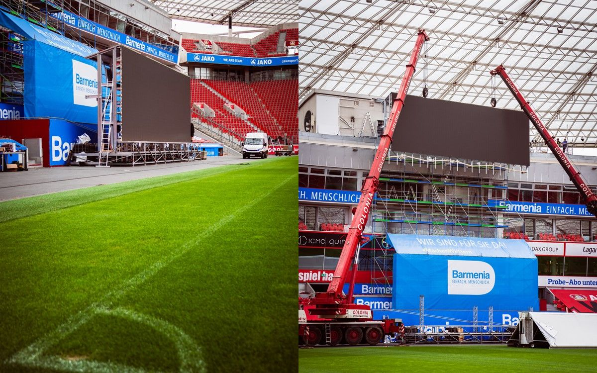 Impressionen der Installationsphase der LED-Displays von LEDCON für die BayArena Leverkusen (Foto: LEDCON)