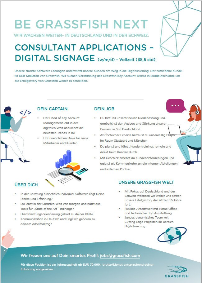 invidis Digital Signage Stellenanzeige - Grassfish Consultant Applications Digital Signage (Foto: Grassfish)