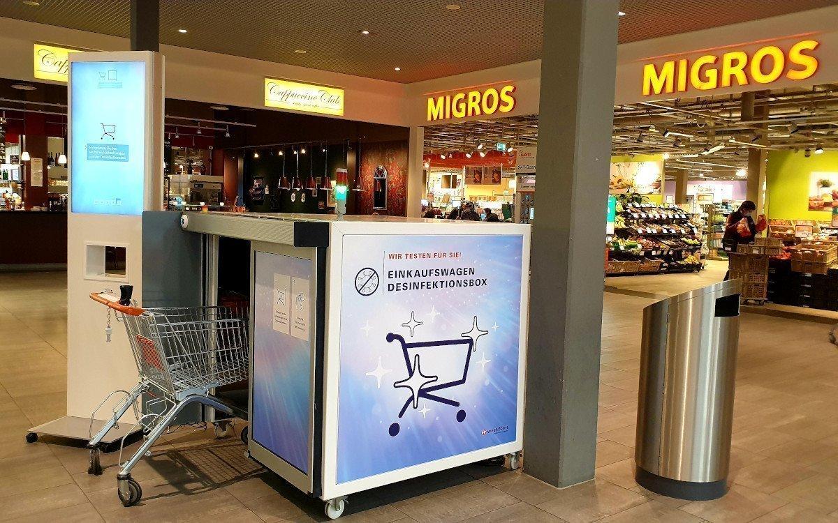 Einkaufswagen Reinigung mit UV-LED bei Migros (Foto: Westiform)