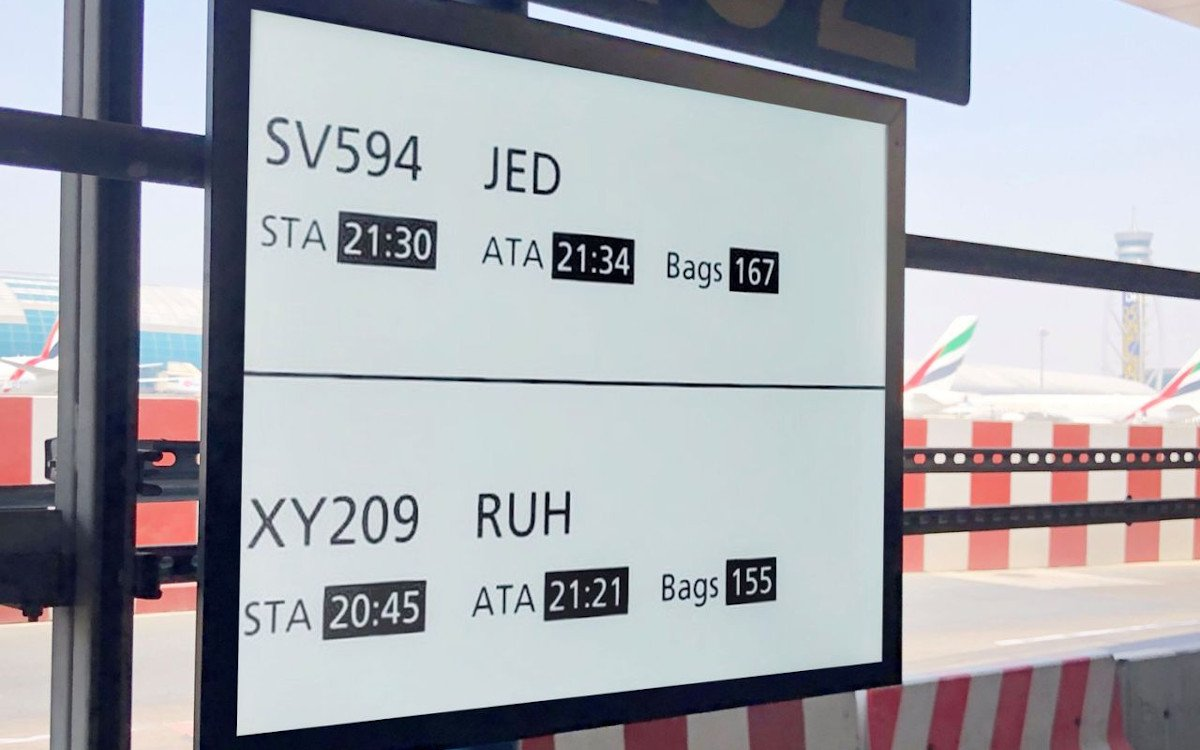 ePaper basierte FIDS-Displays am Flughafen in Dubai (Foto: Dubai Airport)