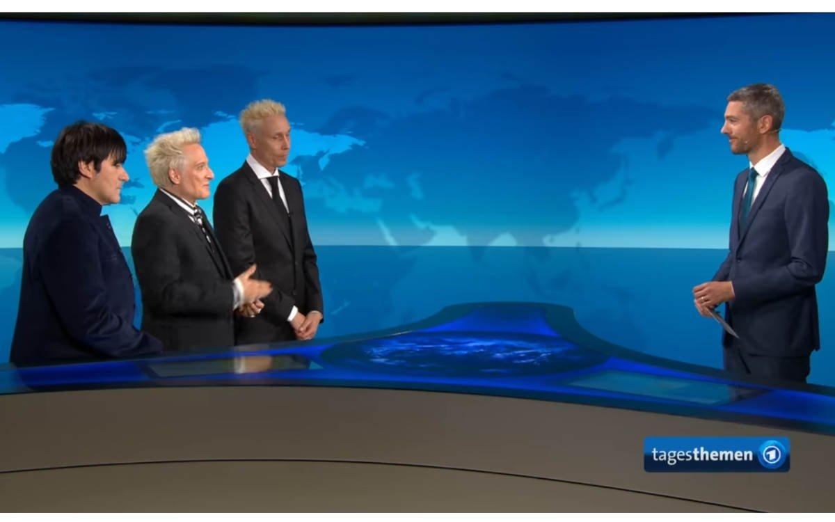 Im Tagesthemen-Interview: Die Ärzte zum Thema Kultur und Corona (Foto: Screenshot/Tagesthemen))
