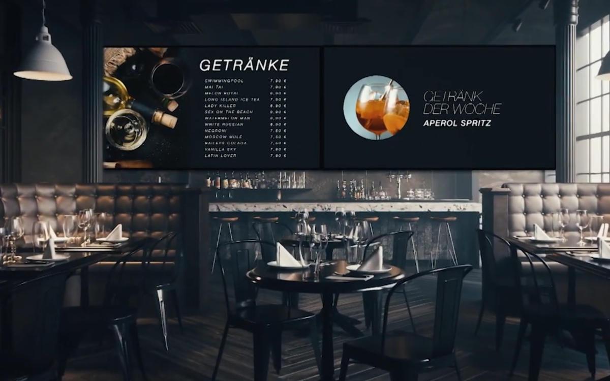 Mit der Smart Signage-Software von MEKmedia lassen sich Speisekarten und andere digitale Informationen einfach erstellen und verwalten (Foto: Screenshot)