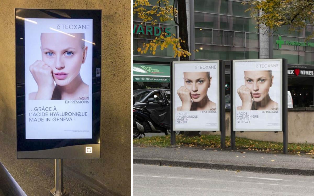 TEOXANE Kampagne in Genf auf DooH von Neo Advertising (Foto: Neo Advertising)