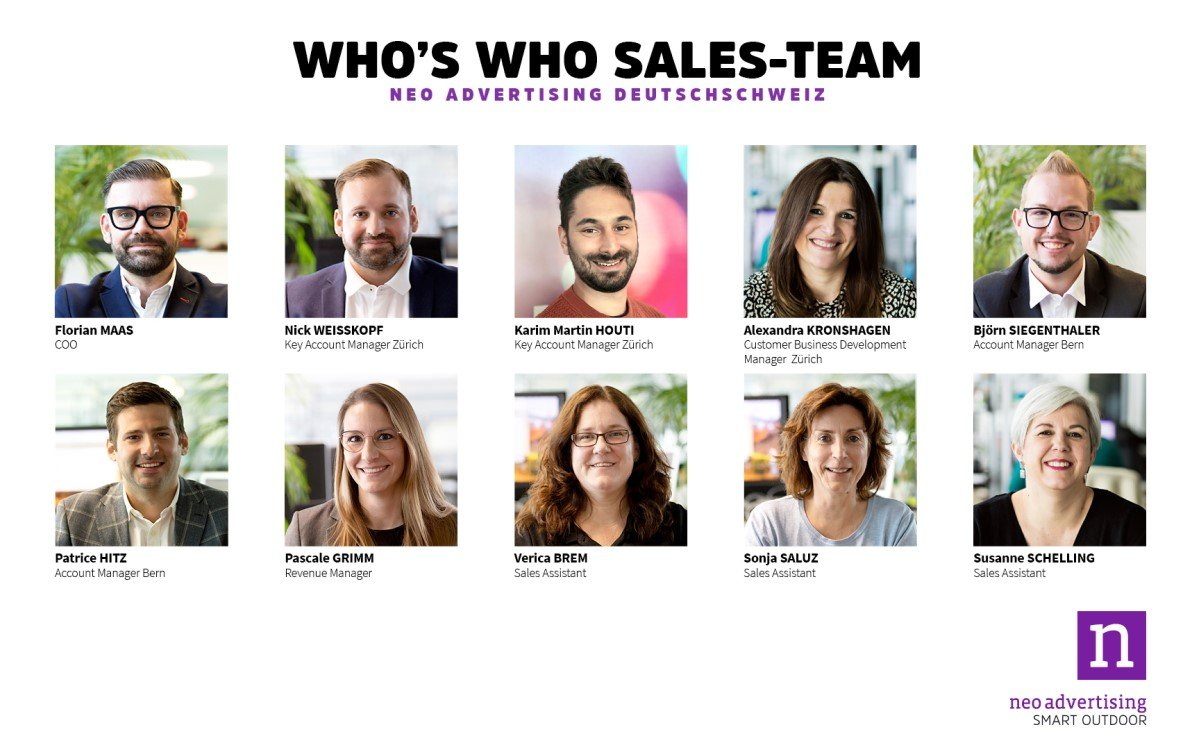 'Who is Who' des Sales-Teams des Schweizer Außenwerbers Neo Advertising (Foto: Neo Advertising)