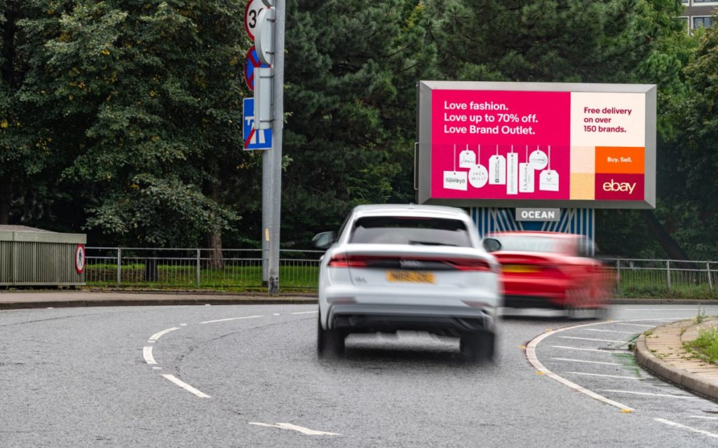 ebay Kampagne auf dem neuen Screen in Oceans XL-Netzwerk in der Chester Road in Manchester (Foto: Ocean Outdoor)