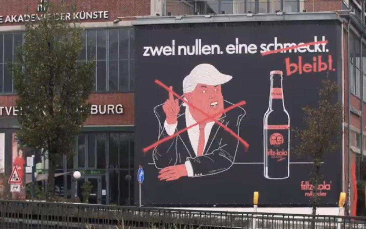 zwei nullen. eine bleibt – Charmantes Werbeplakat von Fritz-Kola zur US-Wahl (Foto: Screenshot)