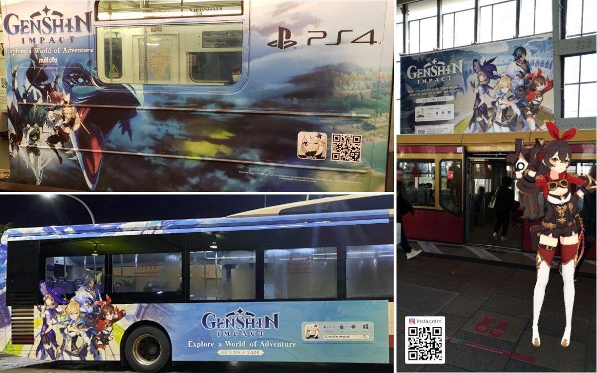 Großangelegte Marketing-Kampagne auf Zügen, Bussen und OoH zum Launch von Genshin Impact (Foto: miHoYo/Reddit: padoruupadoruu, mehji6)