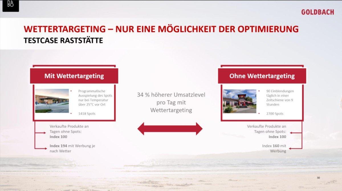 Programmatic Use-Case von GOldbach und Cittadino mit Wettertargeting an einer Raststätte (Foto: Screenshot/Goldbach)