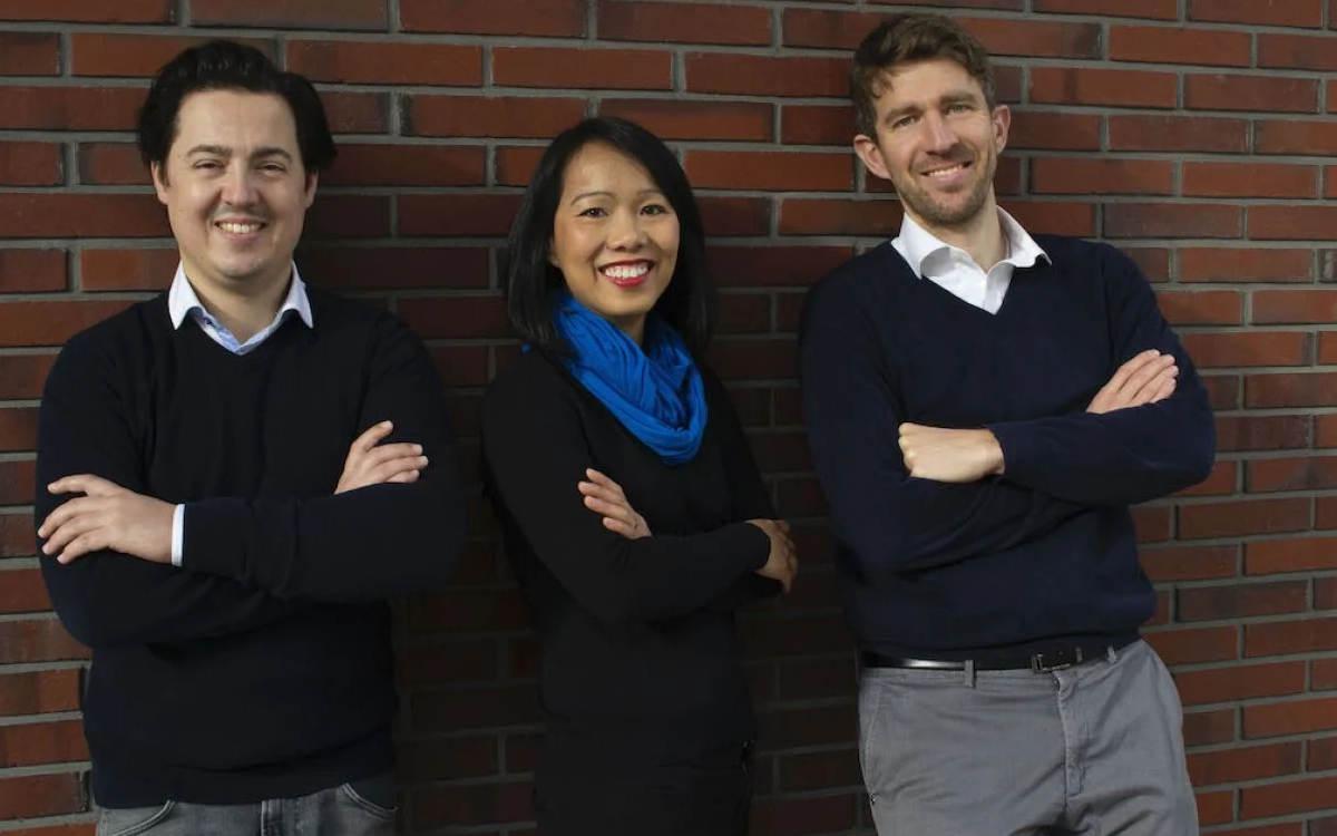 Die drei Gründer des Berliner Start-ups Nomitri (v.l.): Moritz August (CDO), Trinh Le-Fiedler (CEO) und Max Fiedler (CTO) (Foto: Nomitri)
