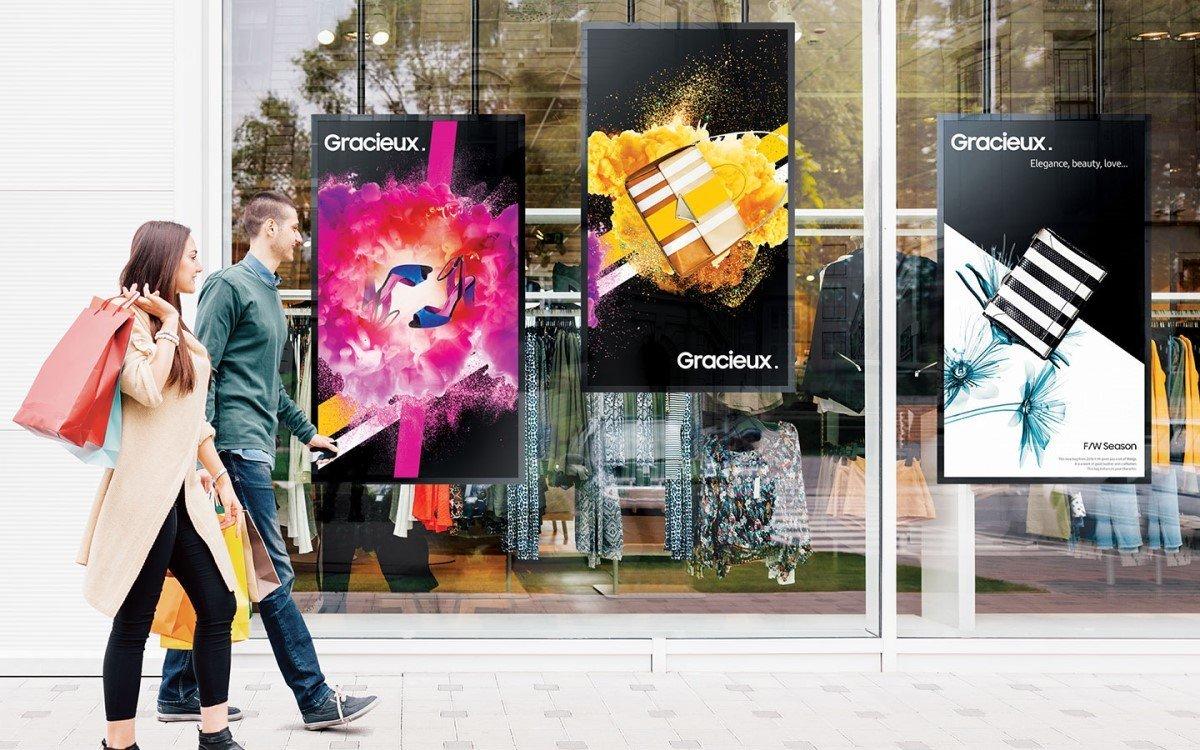 Digital Signage und moderne Shopping-Experiences können dem stationären Retail durch die Krise helfen (Foto: Samsung)