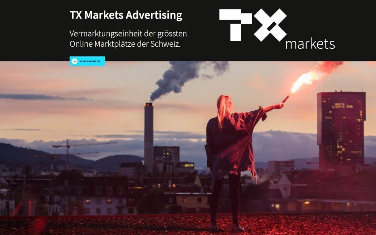 TX Markets Advertising vermarktet Ads auf großen Schweizer Online Marktplätzen künftig unter Goldbach (Foto: Screenshot TXMA Webseite)