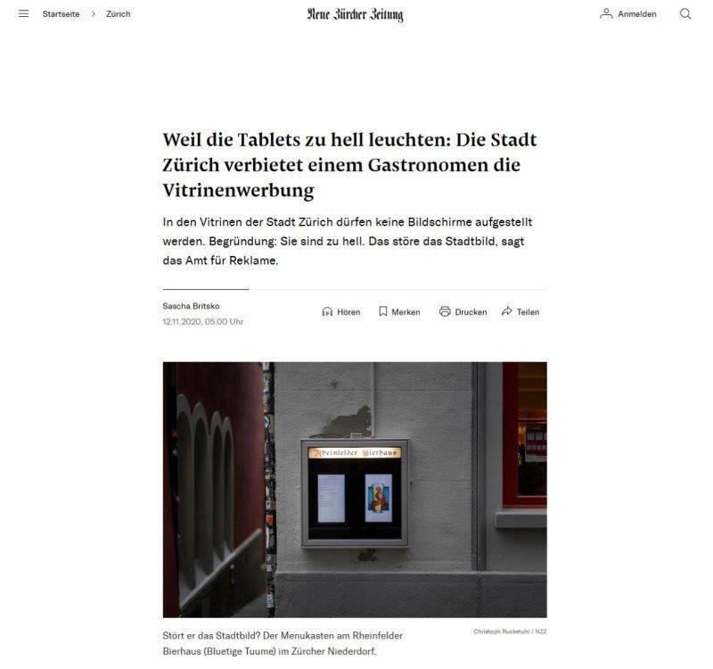 Lesenswerter Artikel in der Neuen Züricher Zeitung (Foto: Screenshot)