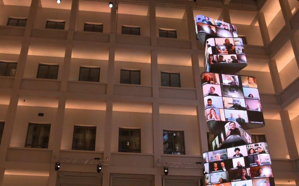 LED-Medienturm Kosmograph im Humoldtforum von Artificial Rome (Foto: Screenshot)