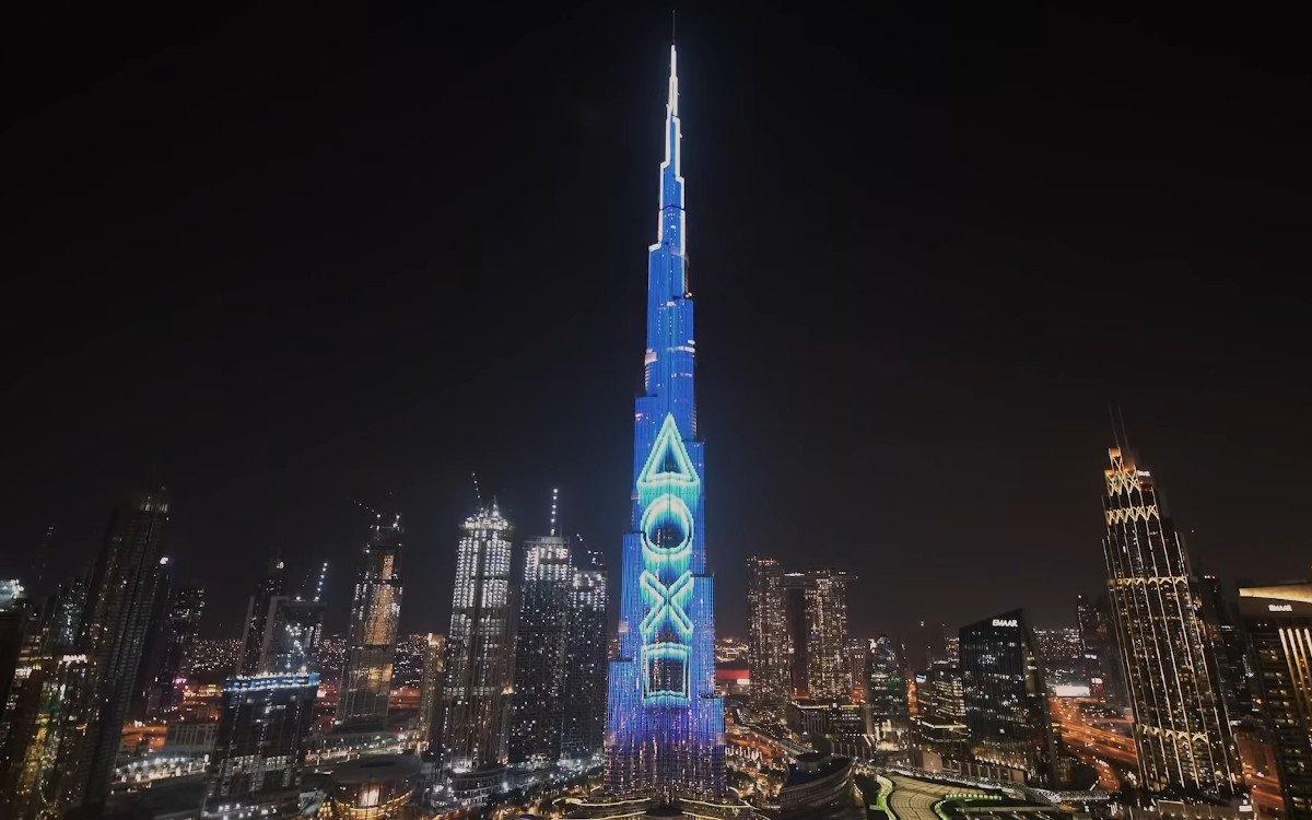 Sony PS5 Launch am Burj Khalifa in Dubai (Foto: Screenshot)