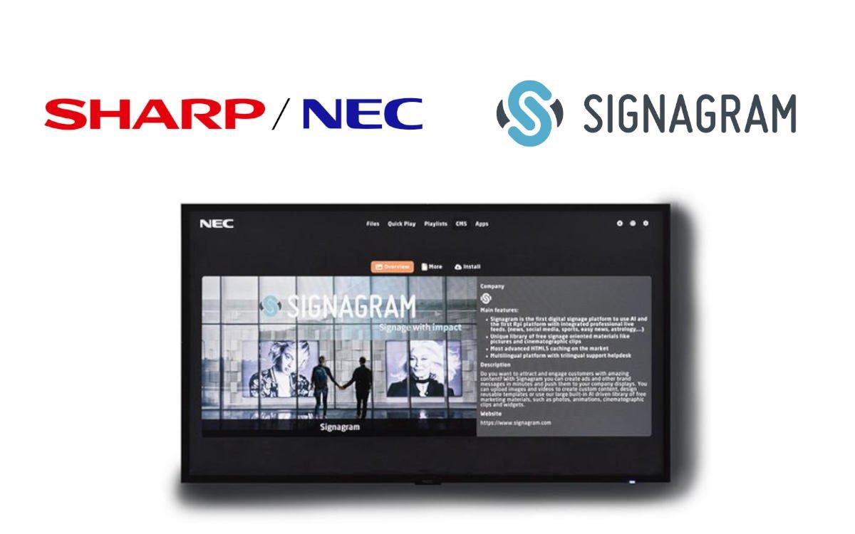 Das Signagram Digital Signage-CMS ist künftig auf NEC-Displays mit Mediaplayer ab Werk vorinstalliert (Foto: Sharp/NEC, Signagram)