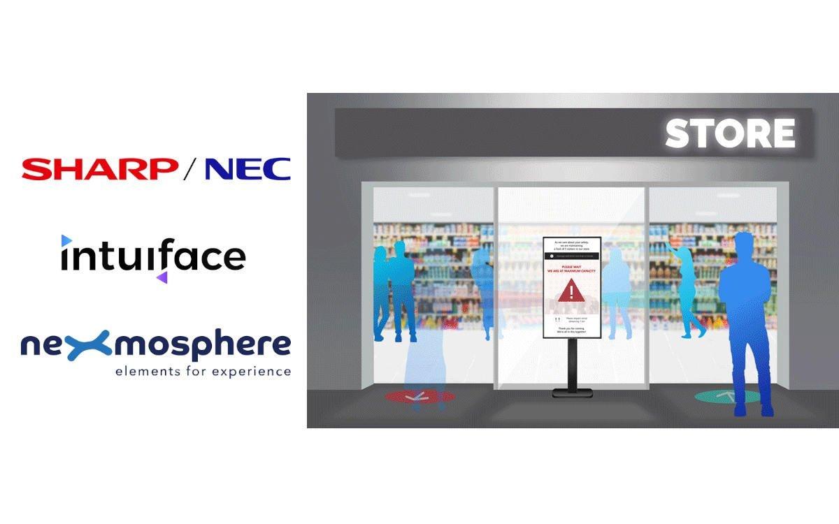 """Sharp/NEC, intuiface und Nexmosphere kombinieren ihre Lösungen und stellen """"Entrance Flow Management"""" vor (Foto: Sharp/NEC, intuiface, Nexmosphere)"""