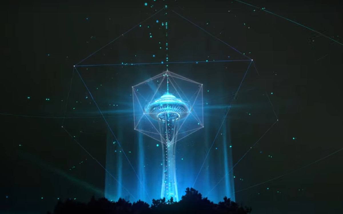 Mehr als nur Projection Mapping - Seattle Space Needle Sylvester 2020/21 (Foto: Screenshot)