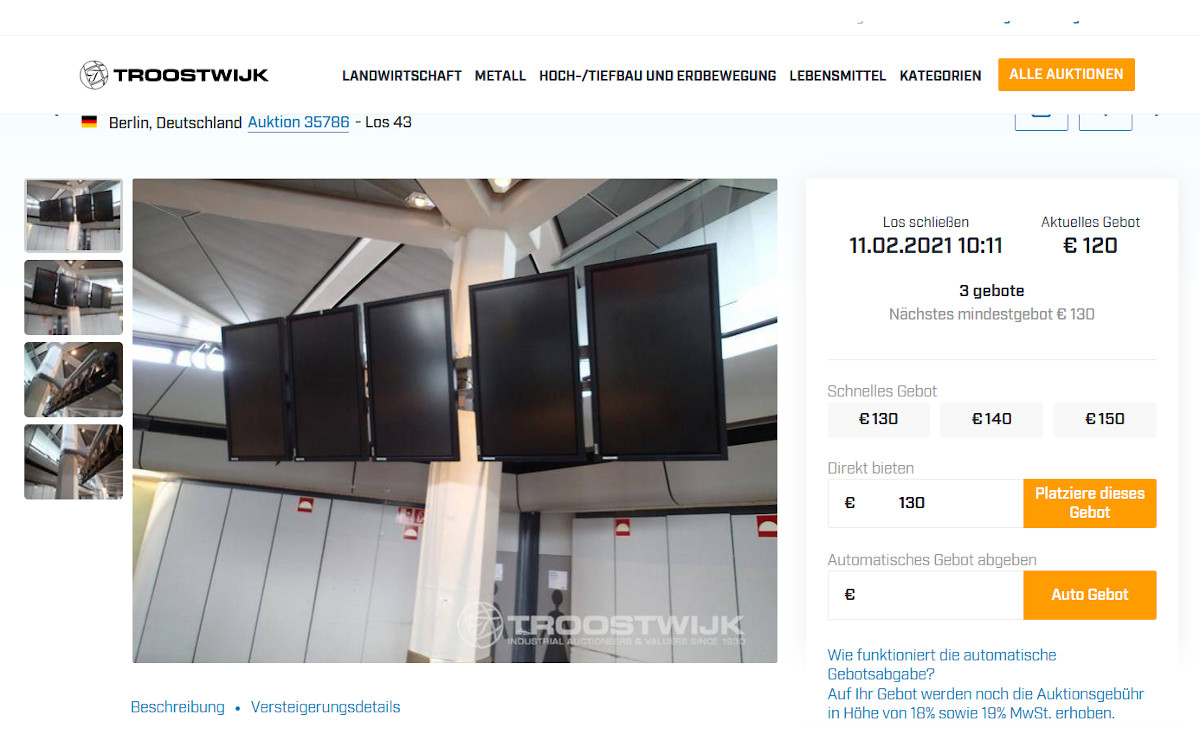 Versteigerung Tegel-Displays (Foto. screenshot)