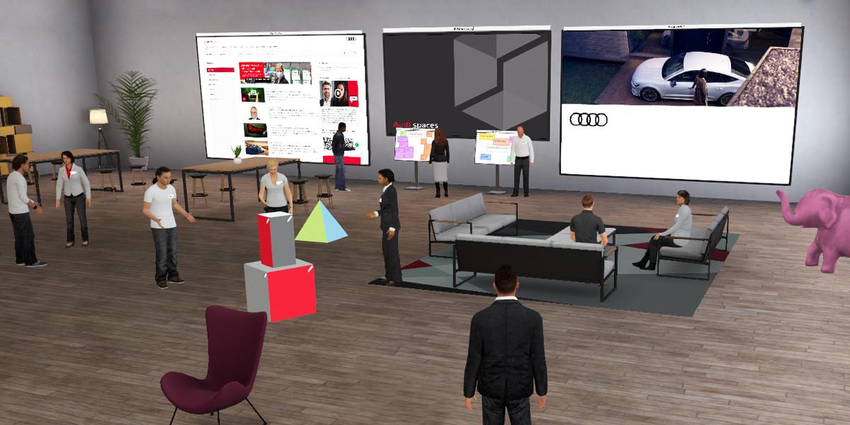 """Digitale Transformation: """"Audi spaces"""" ermöglicht Lernen und Arbeiten im virtuellen Raum (Foto: Audi)"""