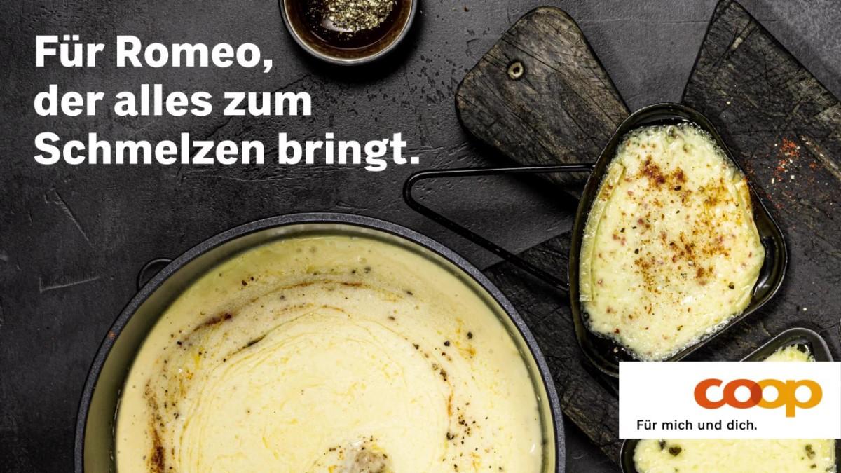Fondue und Raclette bei Coop – Eine programmatische Kampagne bewarb die Produkte nur bei schlechtem Wetter (Foto: Jaduda/Coop)