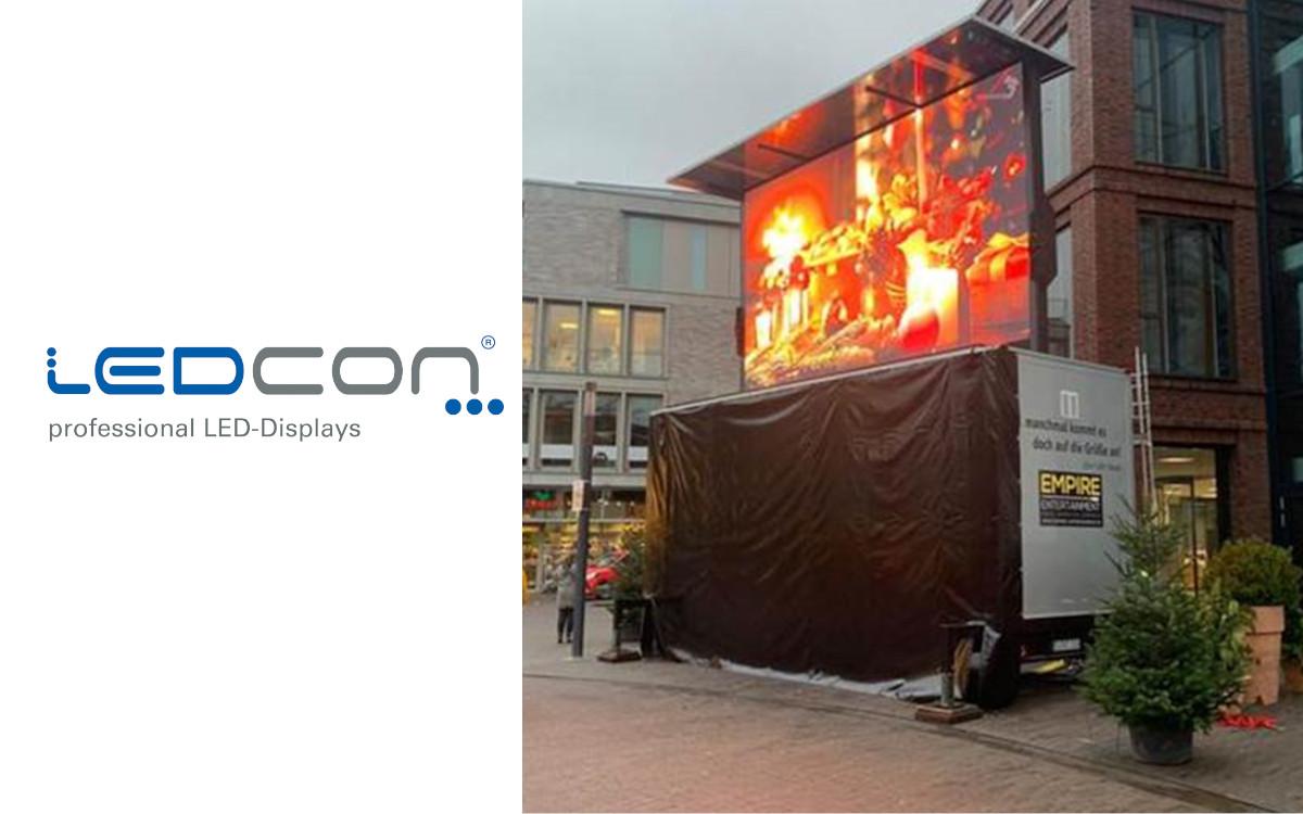 Der LED-Wall Truck von Eventdienstleister Empire Enternainment mit Display von LEDCON (Foto: LEDCON)
