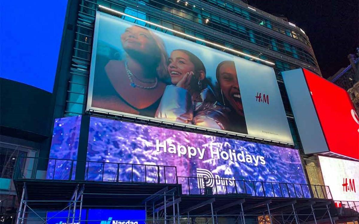 "Das 156qm große ""Broadway Plaza Digital"" am H&M Flagship in New York (Foto: SNA Displays)"