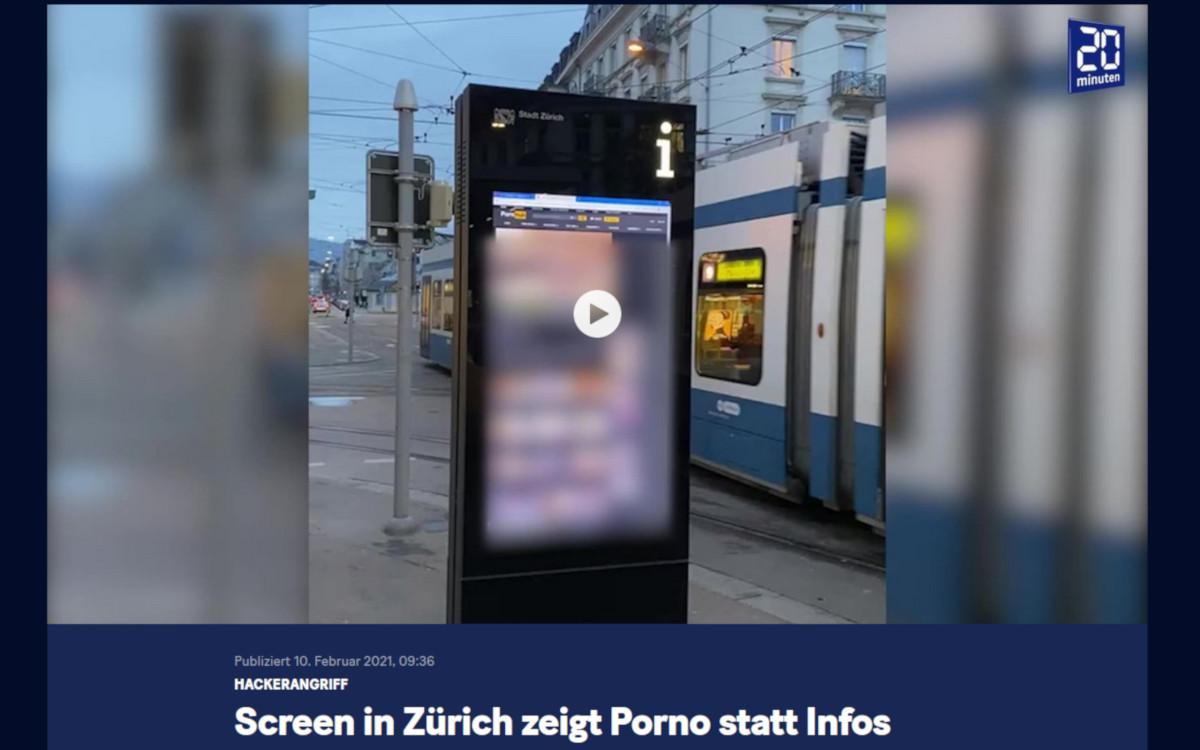 Unbekannte hacken DooH-Stele in Zürich (Screenshot 20min.ch)