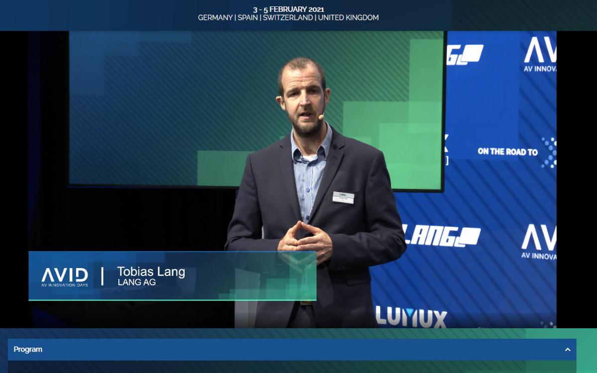 Tobias Lang, Vorstand der Lang AG, bei der Eröffnung der AVID AV-Innovation Days 2021 (Foto: Screenshot)