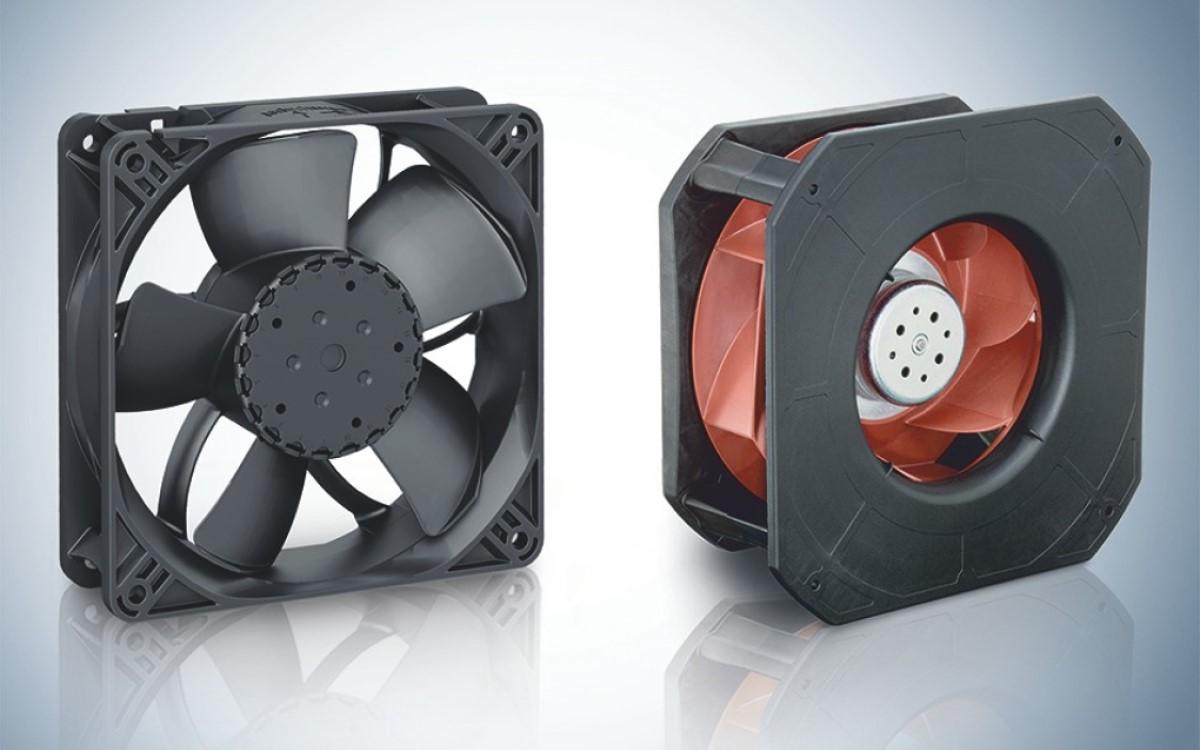 Robuste Axiallüfter wie die Serie 4300N (l.) oder der Radiallüfter RadiCal 225 TD (r.) von ebm-papst gewährleisten einen effektiven und geräuscharmen Abtransport von Wärme und Feuchtigkeit (Foto: ebm-papst)