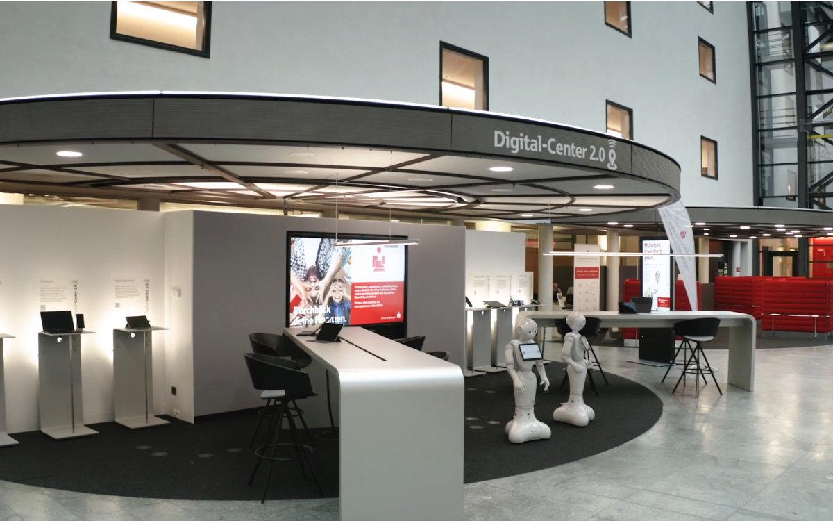 Das Digital-Center der Stadtsparkasse München mit Mobile-Technologie von Samsung (Foto: Screenshot)