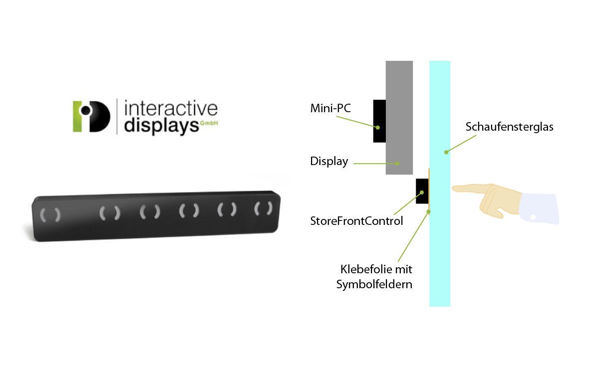 Die StoreFrontControl-Bar wird einfach zwischen Display und Schaufenster installiert (Foto: Interactive Displays)