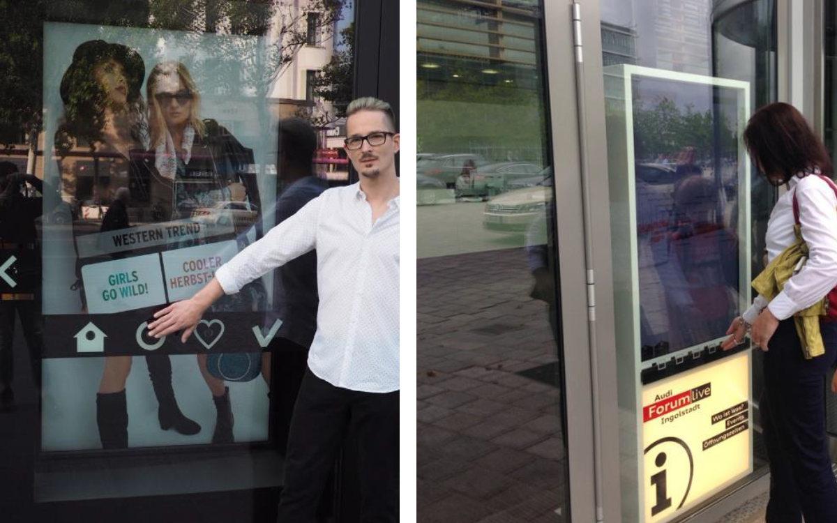 Toucherlebnis durchs Schaufenster – StoreFrontControl im Einsatz (Foto: Interactive Displays/Orsay)