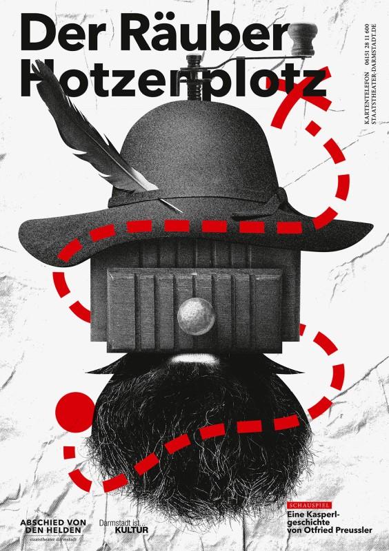 Der Räuber Hotzenplotz aus einer Serie für das Staatstheater Darmstadt (Foto: gggrafik, Götz Gramlich, Max Hathaway / 100 Beste Plakate e.V.)