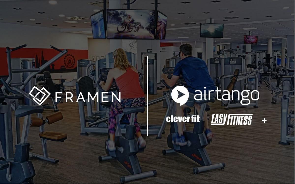Screens in Fitnessstudios des Airtango-Netzwerkes lassen sich künftig über Framen buchen (Foto: Framen/Airtango)