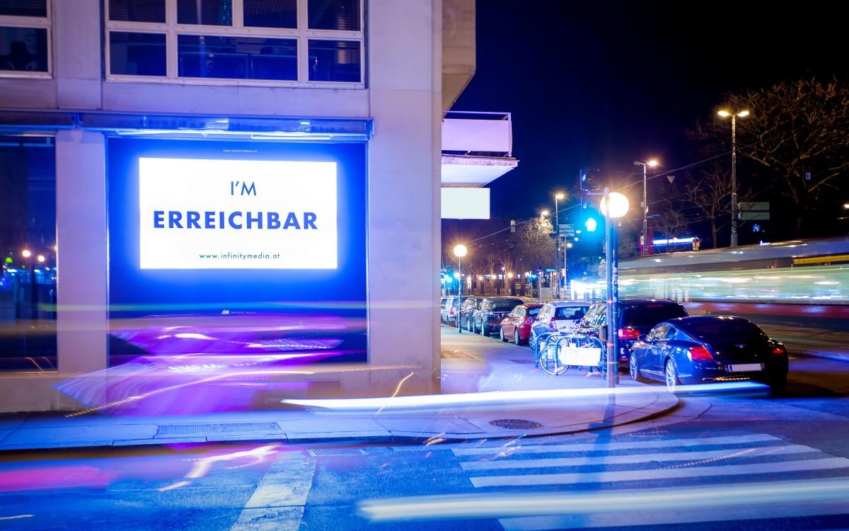 DooH-Screen im Roadside Channel von Goldbach Austria in Wien (Foto: Goldbach)