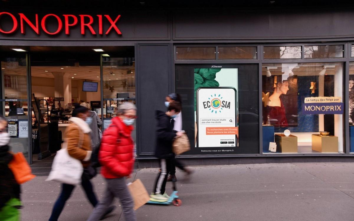 Ecosia Kampagne bei Monoprix in Paris (Foto: JCDecaux)