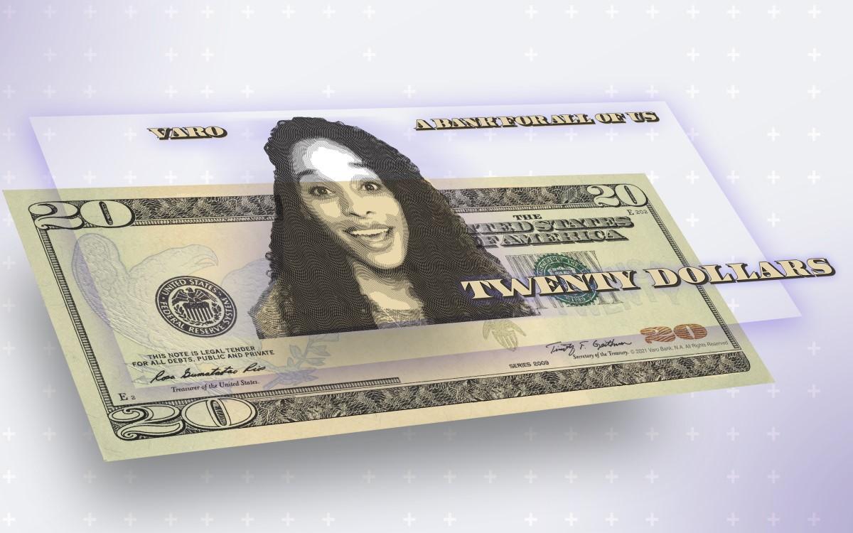 Agentur Saint Elmo's entwickelte für die Varo Bank einen AR-Filter, mit dem man auf Instagram das eigene Gesicht auf einen 20-Dollar-Schein abbilden kann (Foto: Saint Elmo's)